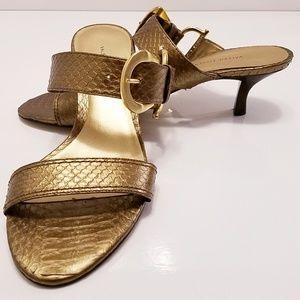 Valerie Stevens snakeskin buckle strap sandals